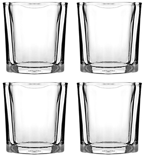 Shot Glasses Set by Trendy Bartender - 2 Ounce Square Heavy Base Shot Glass for Whiskey, Tequila, Vodka - Polishing Cloth & Bottle Pourer With Tapered Spout - Retail Packaging (4pcs, Clear)