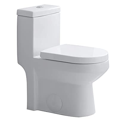 """HOROW HWMT-8733 Small Toilet 25"""" Long x 13.4"""" Wide x 28.4"""" High One Piece Short Compact Bathroom Tiny Mini Commode Water Closet Dual Flush Concealed Trapway"""