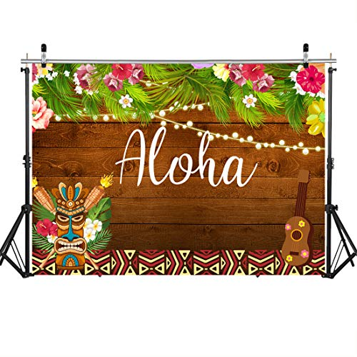 (SJOLOON7x5ft Luau Party Backdrop Summer Aloha Photography Backdrop Tropical Hawaiian Flowers Brown Wooden Sculpture Flamingle for Birthday Studio Props Banner 11555)