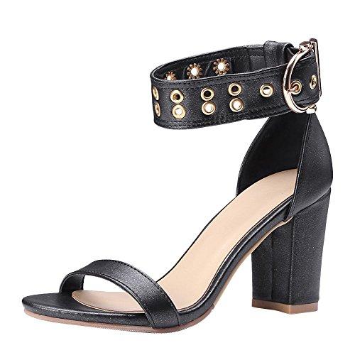 Mee Shoes Damen Chunky Heels Ankle Strap Open Toe Sandalen Schwarz