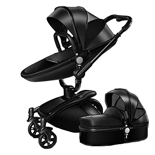 RoseSummer Baby Stroller 2 in 1 Leather Carriage Infant Travel Car Foldable Pram Pushchair (Black)