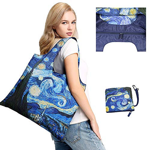 Reusable Grocery Bags with Zipper Closure,Foldable into Zippered Pocket … (STAR NIGHT) - Foldable Bag