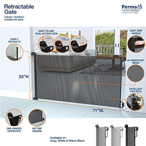 """Perma Child Safety Outdoor Retractable Baby Gate, Extra Wide up to 71"""", Black by Perma Child Safety (Image #2)"""
