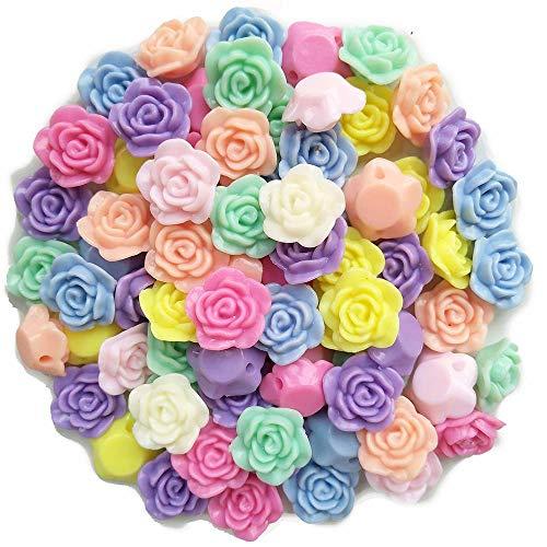 - Qingxi Charm Mixed Lots Acrylic Rose Bead Button DIY Beading Hairband Bracelets Necklace Craft Embelishment