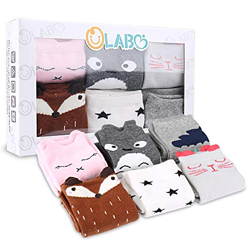 OLABB Unisex Baby Socks Knee High Stockings Animal Theme 6 Packs Gift Set, Weather C, M 1-3T
