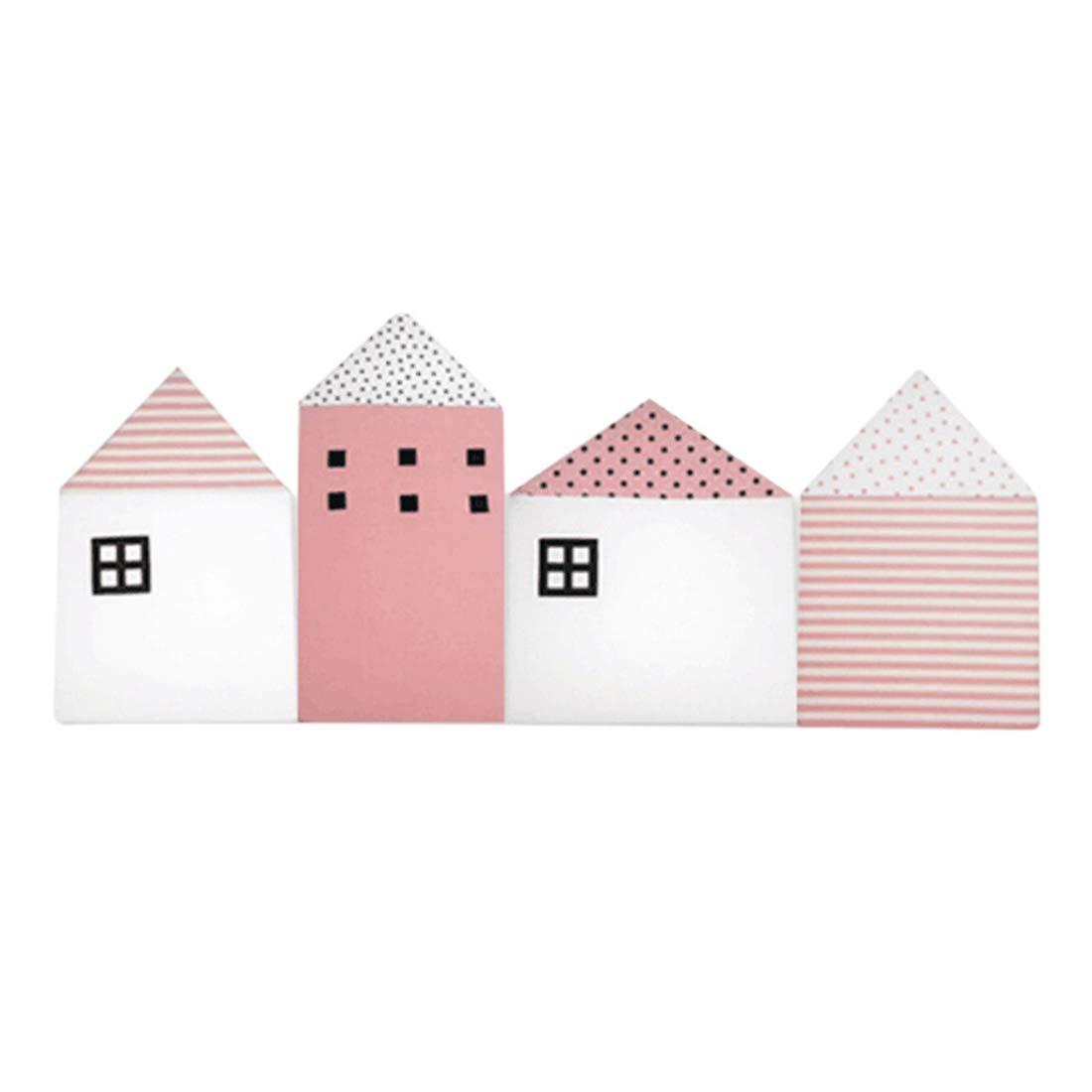 Jiyaru 4 Pieces Baby Crib Bumper Cotton Nursery Cradle Pads House Shape Pink Jiyarue