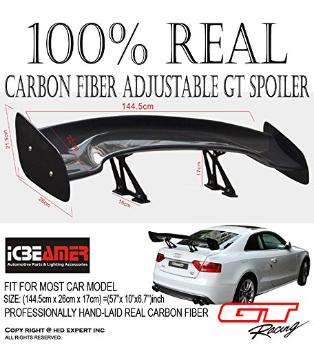 JDM CARBON FIBER GT STYLE 57 inch Universal RACING REAR/BACK TRUNK SPOILER/WING (Spoilers For Honda Accord 99 compare prices)