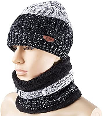 Amazon Winter Warm Knit Hat Neck Warmer Set For Men And Women