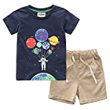 Fiream Boys Cotton Summer Sets Shortsleeve Space Pattern t-Shirts and Shorts 2 pcs Clothing Sets(18023,18M/1-2YRS)