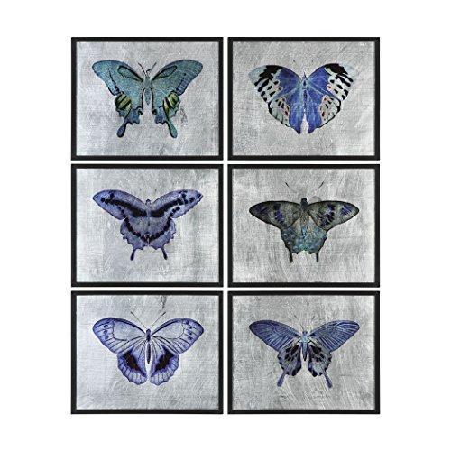 - Reverse Painted Glass Butterfly Wall Art Set 6 | Silver Blue Purple Butterflies