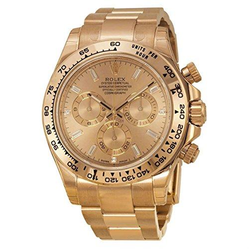 Rolex Daytona Cosmograph Baguette Diamond Dial 18kt Everose Gold Automatic Mens Watch 116505PKDO