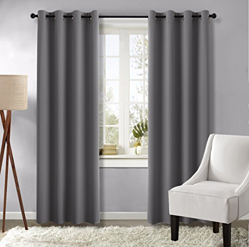 Nicetown Three Pass Microfiber Noise Reducing Thermal Insulated Ring Top Blackout Window Curtains / Drapes (Two Panels,52 x 84 Inch,Gray)