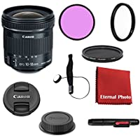 Canon EF-S 10-18mm f/4.5-5.6 IS STM DSLR Lens Bundle With Filters, Lens Cap Keeper and More