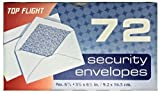 Top Flight Boxed Security Envelopes, 3.5/8  x 6.5 Inches, White with Security Lining, 72 Envelopes per Box (6900534)