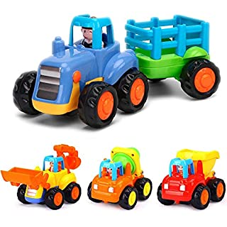 Yiosion Push and Go Friction Powered Cars Construction Vehicles Toy Set Tractor Bulldozer Mixer Truck Dumper for Baby Toddlers Boys Gift