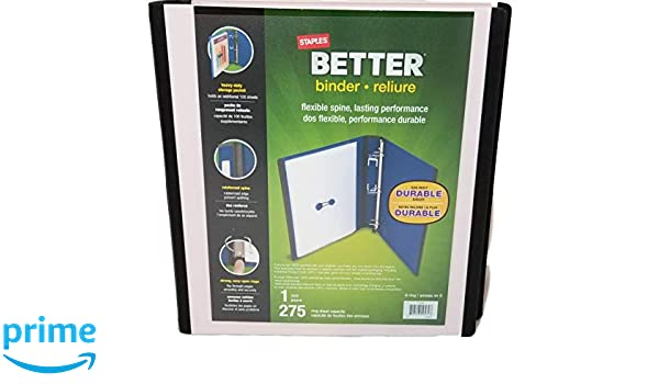 amazon com staples tm better binder 1 inch 275 sheet capacity