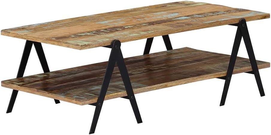vidaXL Table Basse Bois de Récupération Massif Table d/'Appoint Table de Salon