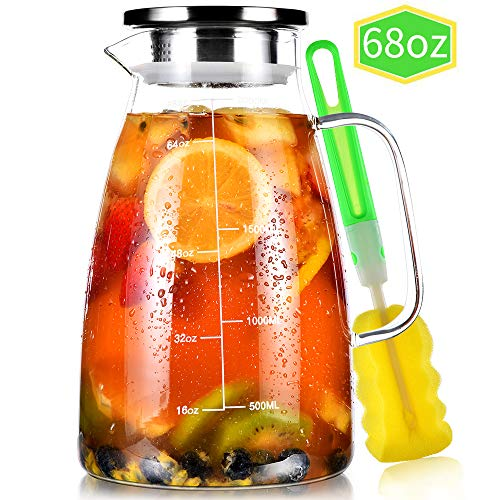 Glass Pitcher, 68oz Water Pitcher with Lid and Precise Scale Line, 18/8 Stainless Steel Iced Tea Pitcher, Easy Clean Heat Resistant Borosilicate Glass Jug for Juice, Milk, Cold or Hot Beverages
