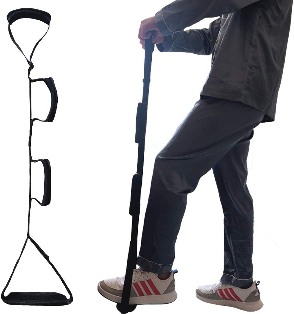 "Fanwer Leg Lifter Strap(Multi-Loop Adjustable 35"" - 44"")- Rigid Foot Loop & Hand Grip, Padded Handgrips & Soft Foot Pad, Mobility Aid for Hip & Knee Replacement, Elderly, Handicap, Disability: Health & Personal Care"