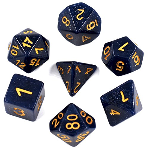 Glitter Dices Polyhedral Dice Sets – Role Playing for MTG DND Dungeons & Dragons Gaming Included Velvet Dice Pouch (Blue Glitter (Glitter Dragon)