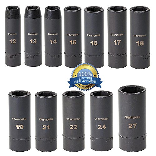 Craftsman 12 Pc. Metric Easy to Read Impact Deep Socket Set, 6 Pt, 1/2 In. Drive - Backed By Our Lifetime Replacement Guarantee!!!