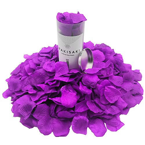 WAKISAKI (Separated, Pleasant-Smelling) Artificial Fake Rose Petals for Romantic Night, Wedding, Event, Party, Decoration, in Bulk (1000 Count, Imperial Purple)]()