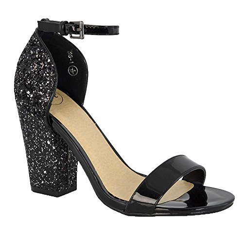 Women's Heel Essex Party Sandals Black Glitter Strappy Prom Patent Synthetic Glam qp4X5