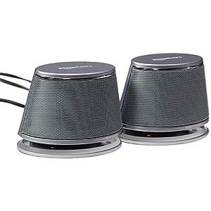 AmazonBasics Enceintes pour ordinateur alimentées par USB avec son dynamique | Argenté, lot de 4 5