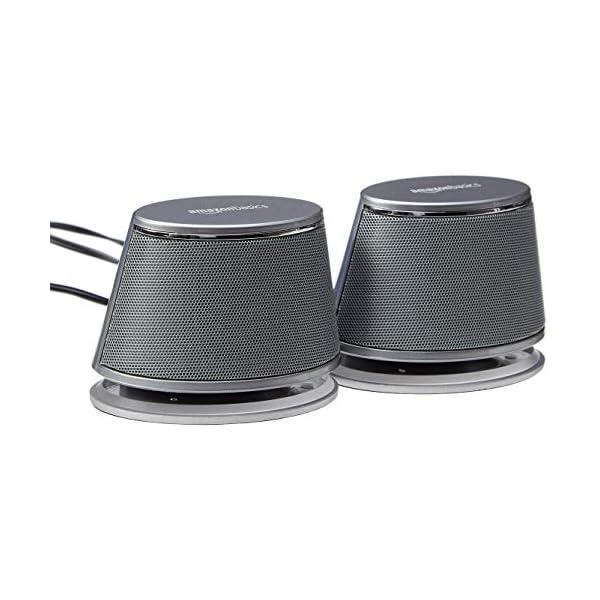 AmazonBasics Enceintes pour ordinateur alimentées par USB avec son dynamique | Argenté, lot de 4 1