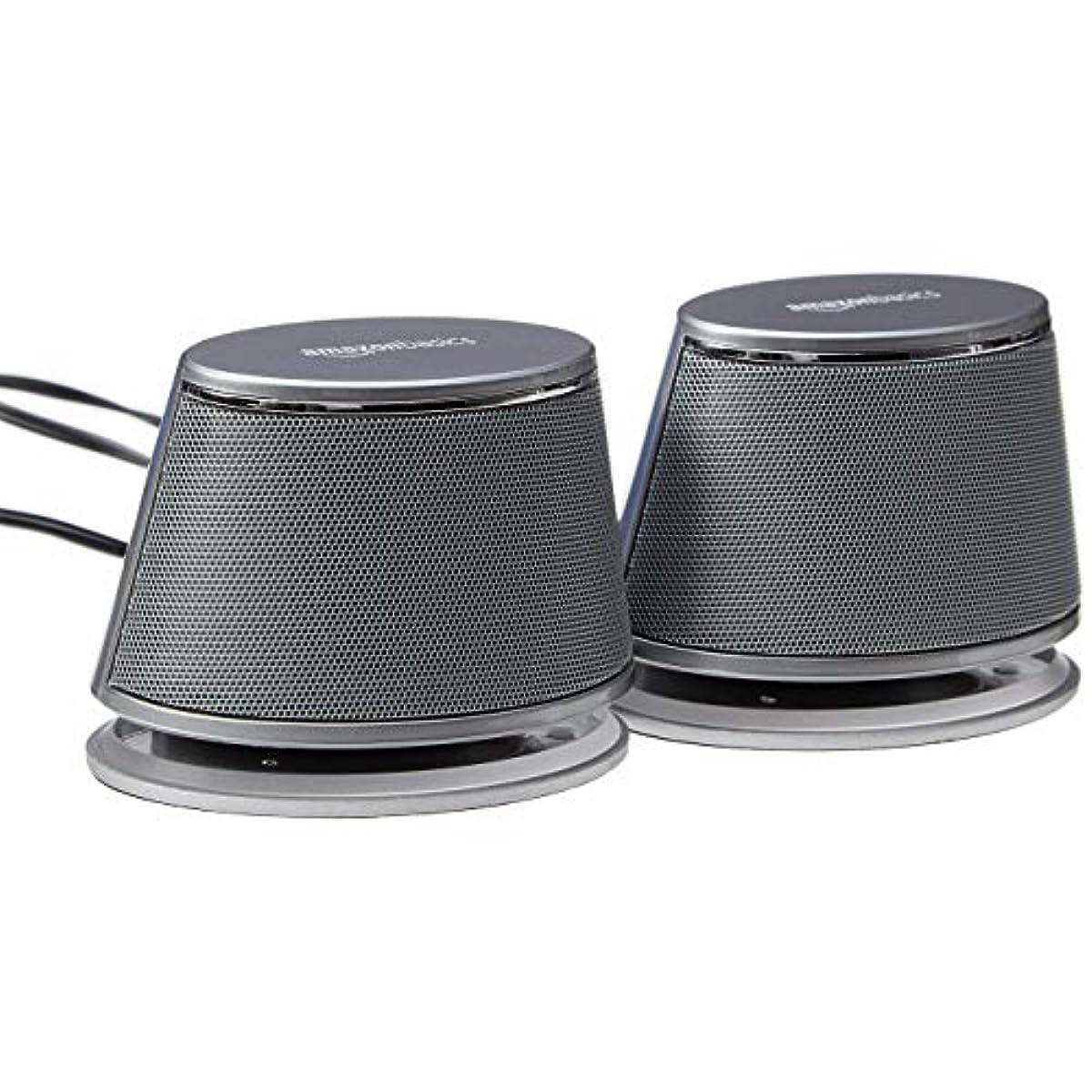 [해외] AMAZONBASICS USB-POWERED COMPUTER SPEAKERS WITH DYNAMIC SOUND | SILVER