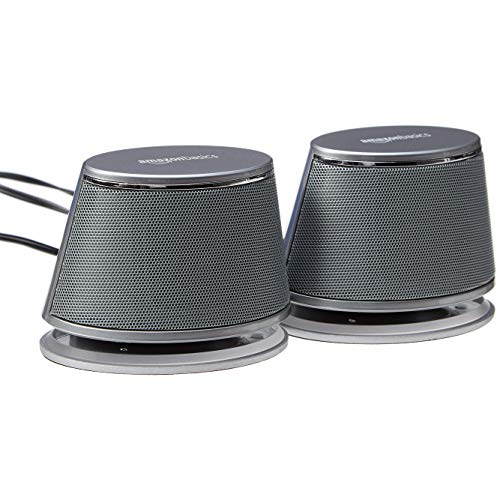 AmazonBasics USB-Powered PC Computer Speakers with Dynamic Sound | Silver (Best Desktop Speakers With Subwoofer)