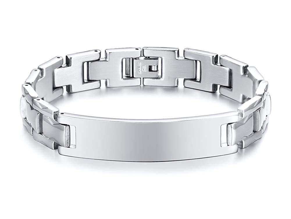MEALGUET Personalized Custom Engraved Polished Stainless Steel Link ID Bracelets Chain Wristband for Men Husband Dad MG-BR-620B-KZ