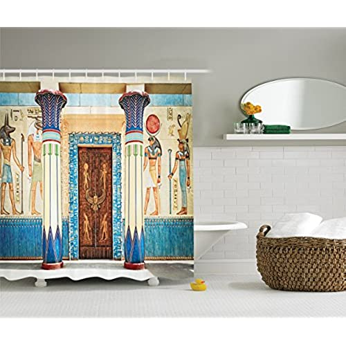 Ambesonne Egyptian Decor Collection, Ancient Egyptian Writing On Stone  Ancient Egypt Indigenous Civilization Picture, Polyester Fabric Bathroom  Shower ...