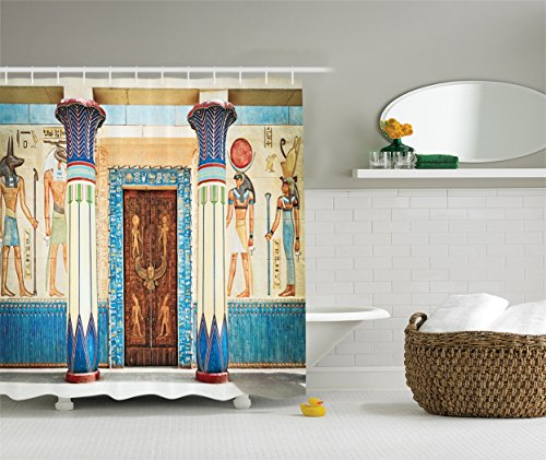 Ambesonne Egyptian Decor Collection, Ancient Egyptian Writing on Stone Ancient Egypt Indigenous Civilization Picture, Polyester Fabric Bathroom Shower Curtain, Beige Navy Red
