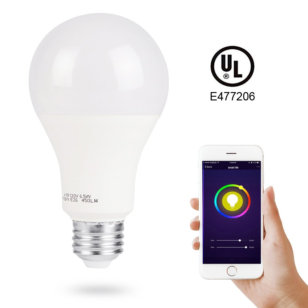 Smart LED Light Bulb, 3Stone Dimmable 2.4G Wi-Fi Smart RGB Multicolor Voice Controlled Bulb, Warm White(2700K), A19 7W(60W Equivalent), Works with Alexa,Google Assistant&IFTTT (No Hub Required)-1 Pack