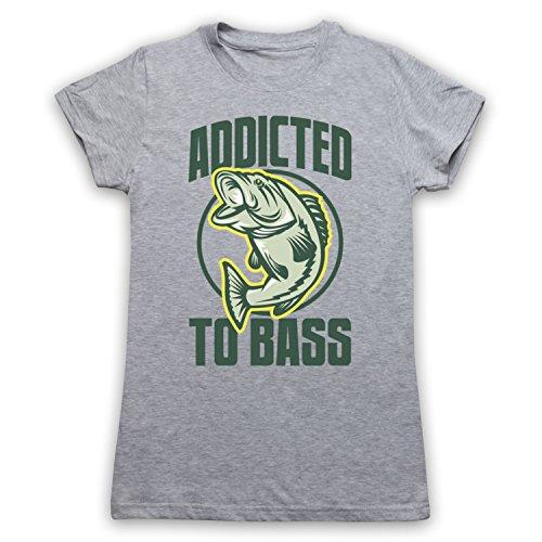 Addicted To Bass Bass Fish Camiseta para Mujer Gris Claro