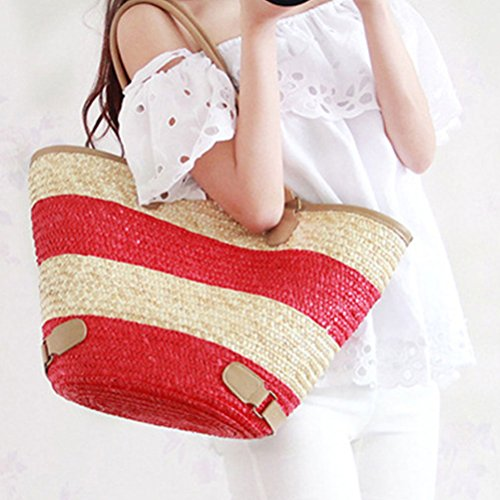 Zhhlaixing Casual European and American Style Simple Straw Bag PU Striped Large Capacity Woven Bags Beach Bags Bolsa hermosa especial for Women Red