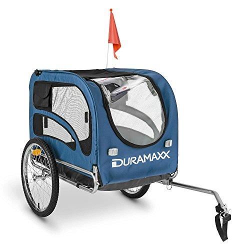 DURAMAXX King Rex Fahrradanhänger Hundeanhänger 250l 40kg Stahlrohr blau