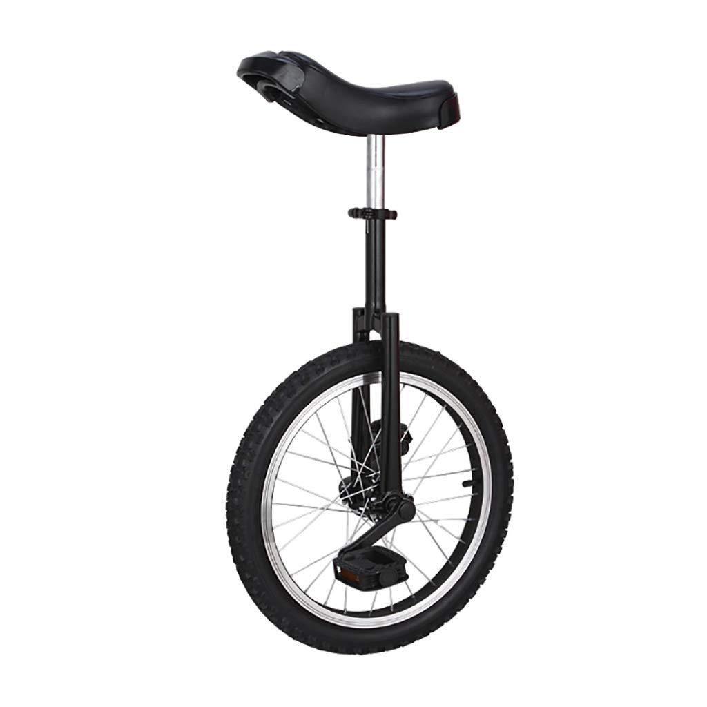 フリースタイル一輪車16インチシングルラウンド子供の大人の調節可能な高さバランスサイクリングエクササイズブラック   B07PNJ235F