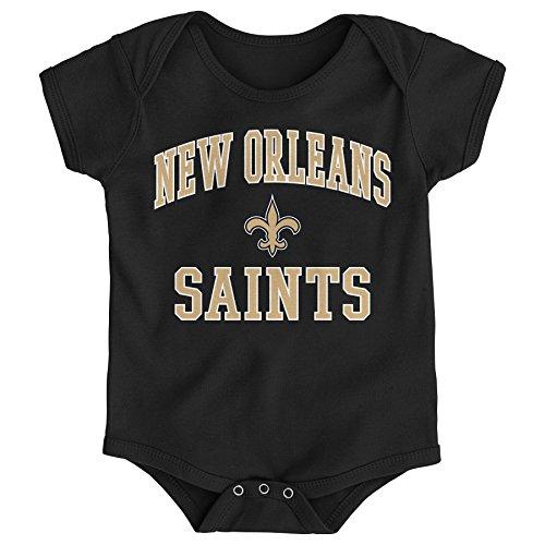 NFL by Outerstuff NFL New Orleans Saints Newborn & Infant City Wide Short Sleeve Bodysuit Black, 18 Months -