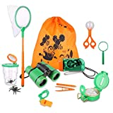 Sammious Outdoor Explorer Kit, Adventure Outdoor Explorer Kit for Kids Present Kids Binoculars Set for Camping Hiking Bug Catcher Pretend Play