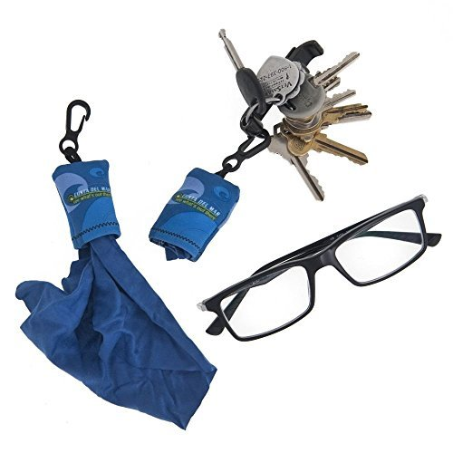 2 Microfiber Eyeglasses Hermit Cleaning Cloth Keychain Glasses Camera Smartphone
