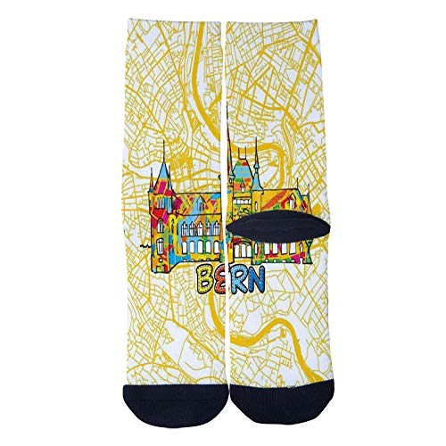 Black Bern Boots - Mens Womens Casual Bern Travel Art Map Socks Crazy Custom Socks Creative Personality Crew Socks Black