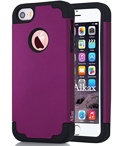 one 5S Case , iPhone 5 Case ,Alkax Dual Layer Armor Heavy Duty Rugged Slim Fit Series Soft-Interior+Hard Protective Cover Bumper for Apple iPhone SE + 1 Stylus Pen (Dark purple) (Dark Pink Silicon Sleeve)
