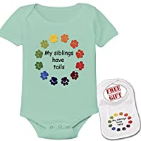My Siblings Have Tails Funny Onesie Cute Baby Shower Gift Infant Bodysuit