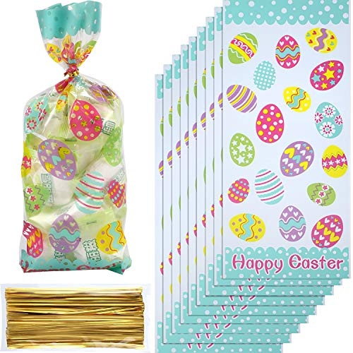 Chuangdi 100 Pack Happy Easter Day Treat Bag Candy Cellophane Bag Easter Egg Treat Bag Painted Eggs Cello Bag Easter Goody Bags Grab Bag (Style 2)]()