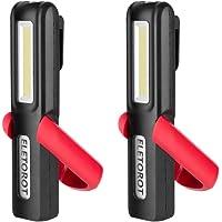 Eletorot Recargable Linterna de trabajo, lámpara de inspección 3W LED COB Portátil Linterna con magnético soporte y gancho colgante, para Emergencia,Taller,Automóviles(Paquete de 2)