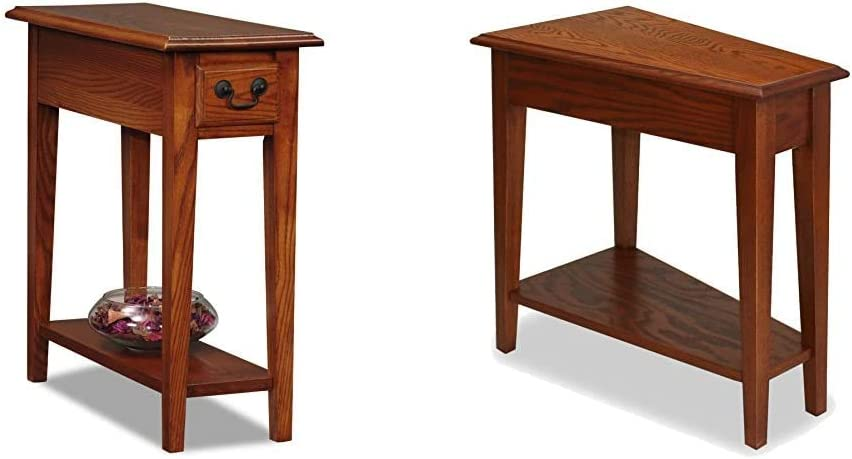 Leick Furniture Favorite Finds End Table, Hand Applied Rustic Oak Finish & Favorite Finds Coffee Table, Medium Oak