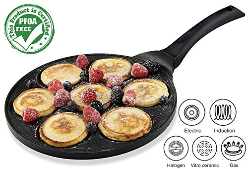 Flat Heart Mold (Gourmia GPA9515 Blini Pan With Induction Bottom Nonstick Silver Dollar Pancake Maker Features 7-Mold 100% PFOA free non-stick coating)