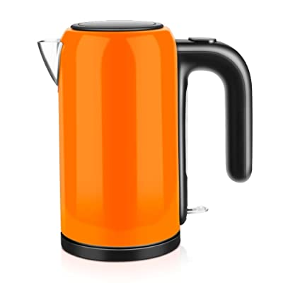 GPC Electric Kettle Stainless Steel Blue Pink Dark Pink Orange Double Anti-Hot 1200W 1.0L Automatic Power off Insulation Home Travel Electric Kettles,Orange